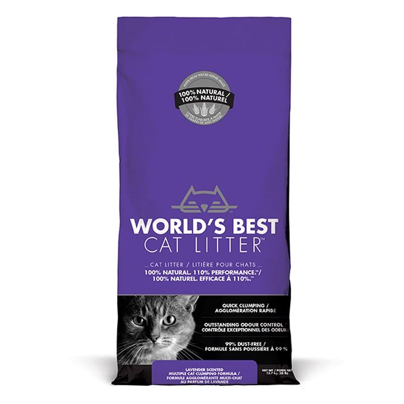 World's Best Cat Litter LAVENDER SCENTED MULTIPLE CAT CLUMPING 12.7 kg [ฟรีค่าจัดส่ง]