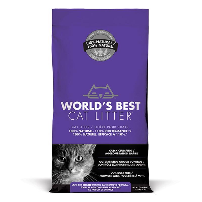 World's Best Cat Litter LAVENDER SCENTED MULTIPLE CAT CLUMPING 3.18 kg [ฟรีค่าจัดส่ง]