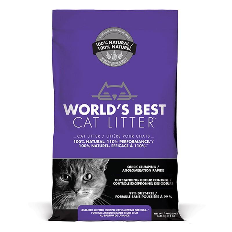 World's Best Cat Litter LAVENDER SCENTED MULTIPLE CAT CLUMPING 6.35 kg [ฟรีค่าจัดส่ง]