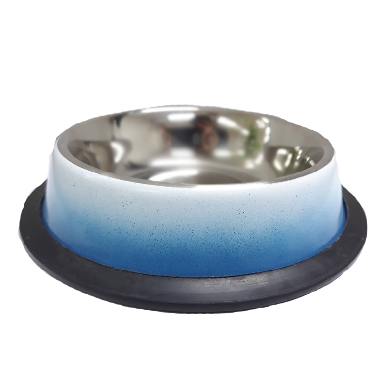 ชามสแตนเลสสีฟ้า-ขาวขอบซิลิโคน16 Oz /0.45 Ltr. , กว้าง 19.5 cm