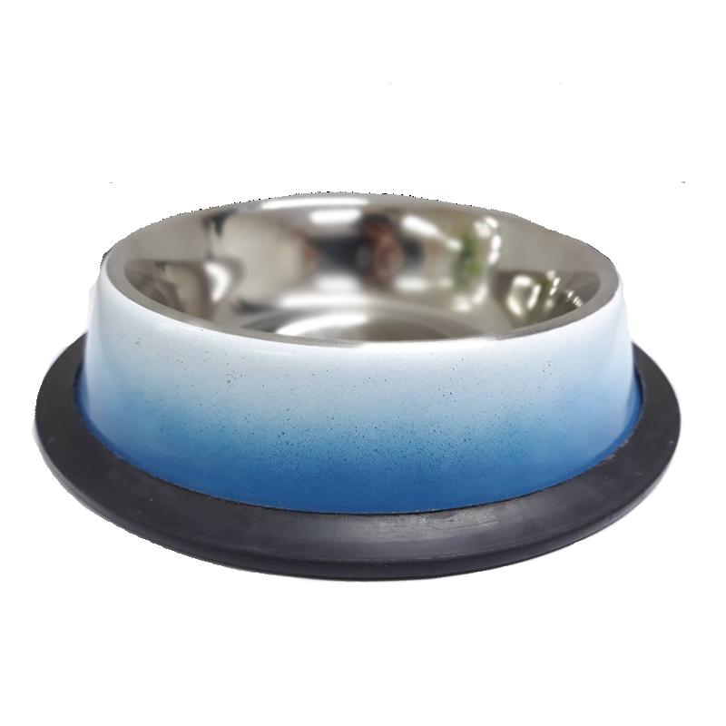 ชามสแตนเลสสีฟ้า-ขาวขอบซิลิโคน32 Oz /0.85 Ltr. , กว้าง 23 cm