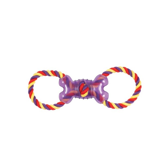 CHOMPER : DOGGY LONG LEGS SMALLMONGOOSE TAIL WAGGERS TPR BONE DOUBLE ROPE RING TUG