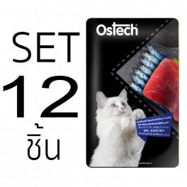 [Set 12 ชิ้น]อาหารแมวออสเทค เพาช์-ทูน่าและปลาแอนโชวี่ในเยลลี่