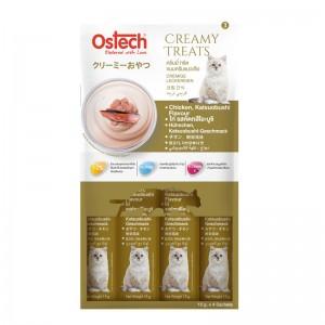 ขนมแมวเลีย ออสเทค ครีมมี่ ทรีต ไก่ รสคัตทสึโอะบูชิ (1 ห่อมี 4 ซอง)