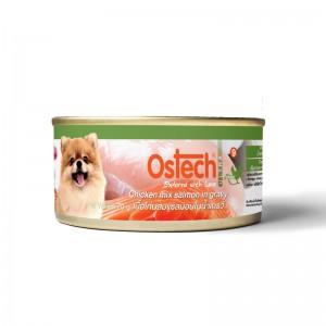 อาหารกระป๋องสุนัขออสเทค อัลตร้า เนื้อไก่ผสมแซลมอนในน้ำเกรวี่ 70g