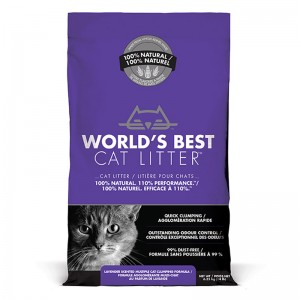 World's Best Cat Litter LAVENDER SCENTED MULTIPLE CAT CLUMPING 6.35 kg [ฟรีค่าจัดส่ง]