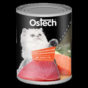 อาหารแมวออสเทคแบบกระป๊องทูน่า&แซลมอนในเยลลี่