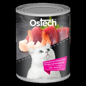 อาหารแมวออสเทคแบบกระป๊องทูน่า&กุ้งในเยลลี่
