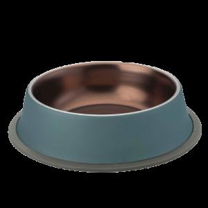 ชามสแตนเลสสีฟ้า+ทองแดง(ด้านใน)ขอบซิลิโคน8 Oz / 0.25 Ltr. กว้าง 15.5 cm