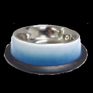 ชามสแตนเลสสีฟ้า-ขาวขอบซิลิโคน8 Oz /0.25 Ltr , กว้าง 15.5 cm