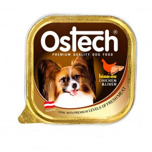 อาหารถาดสุนัขออสเทค รสไก่+ตับ  300 g.