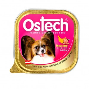 อาหารถาดสุนัขออสเทค รสไก่+แฮม  300 g.