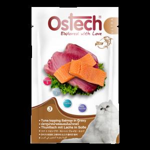 อาหารซองแมวออสเทค อัลตร้า ปลาทูน่าหน้าแซลมอนในนํ้าเกรวี่ 70 กรัม