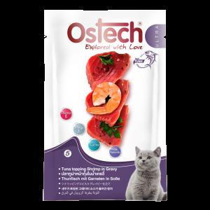 อาหารซองแมวออสเทค อัลตร้า ปลาทูน่าหน้ากุ้งในนํ้าเกรวี่ 70 กรัม