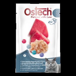 อาหารซองแมวออสเทค อัลตร้า ปลาทูน่าหน้าคัตทสึโอะบูชิในนํ้าเกรวี่ 70 กรัม