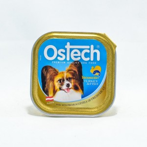 อาหารถาดสุนัขออสเทค รสไก่งวง+ปลา 100 g.