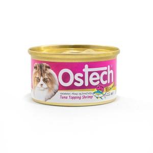 อาหารกระป๋องแมวออสเทค กัวเม่ รสทูน่าหน้ากุ้ง 80 g.