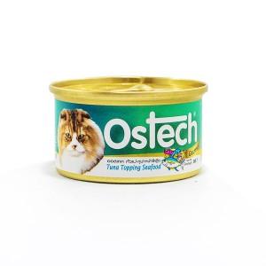 อาหารกระป๋องแมวออสเทค กัวเม่ รสทูน่าหน้าซีฟู้ด 80 g.