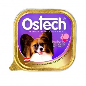 อาหารถาดสุนัขออสเทค รสไก่+ไก่งวง  300 g.