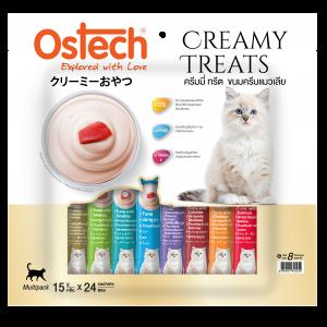 ขนมแมวเลีย ออสเทค ครีมมี่ ทรีต มัลติแพ็ค รวม 8 รสชาติ  (1 ห่อมี 24 ซอง)
