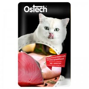 อาหารแมวออสเทค เพาช์-ทูน่าและไก่ในเยลลี่