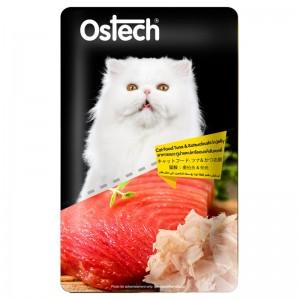 อาหารแมวออสเทค เพาช์-ทูน่าและปลาโออบแห้งในเยลลี่