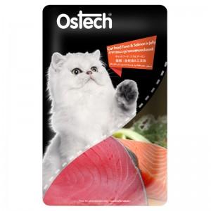 อาหารแมวออสเทค เพาช์-ทูน่าและแซลมอนในเยลลี่